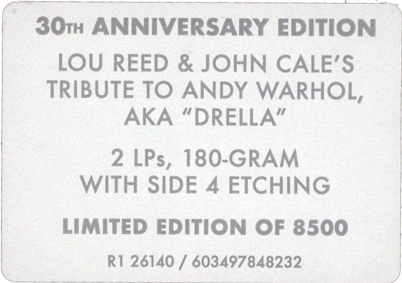 Lou Reed John Cale Songs for Drella Vinile Vinyl RSD2020 3 1